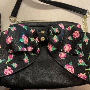 Betsey Johnson floral bow cross body